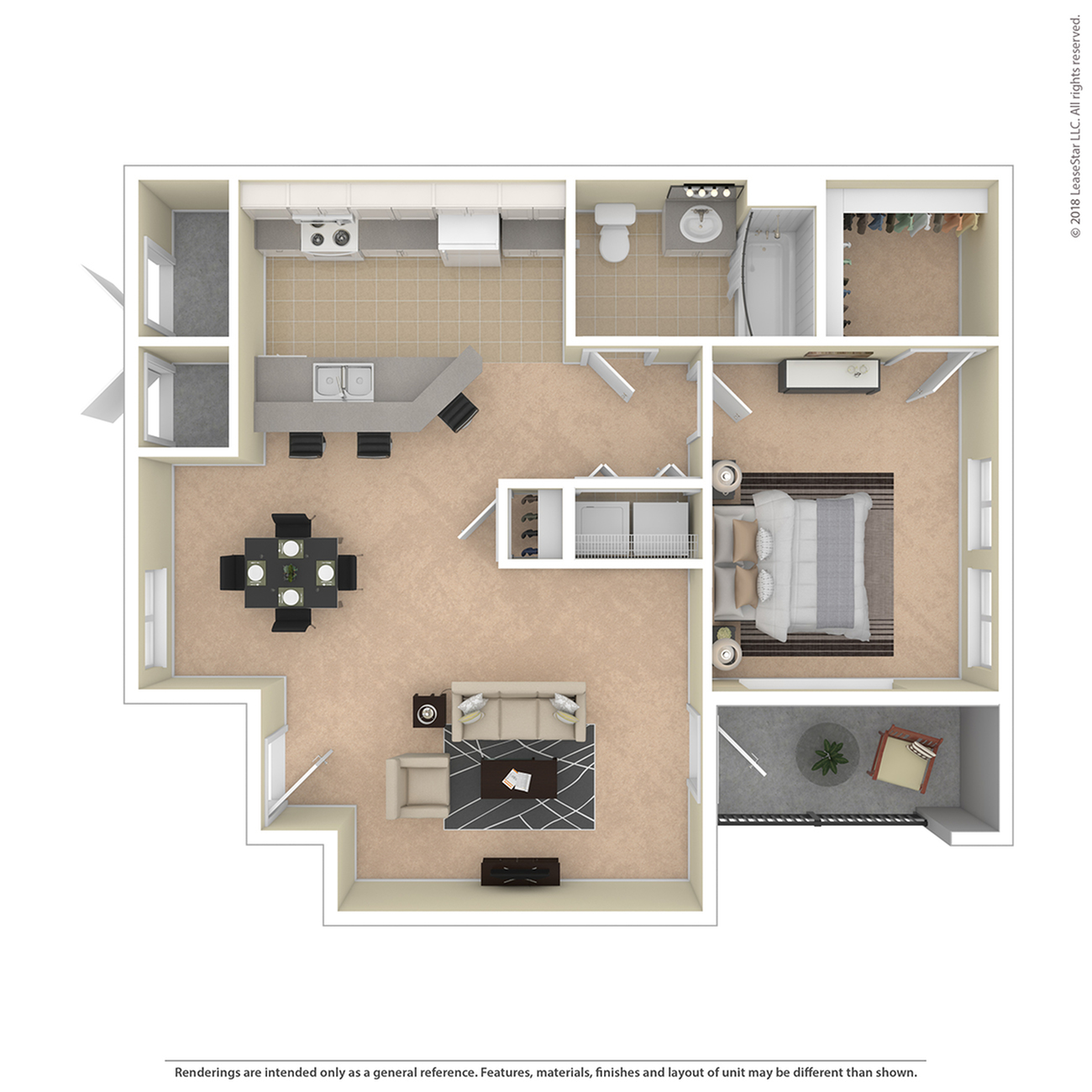 1 Bdrm Floor Plan | 3 Bedroom Apartments For Rent In Colorado Springs | Willows at Printers Park
