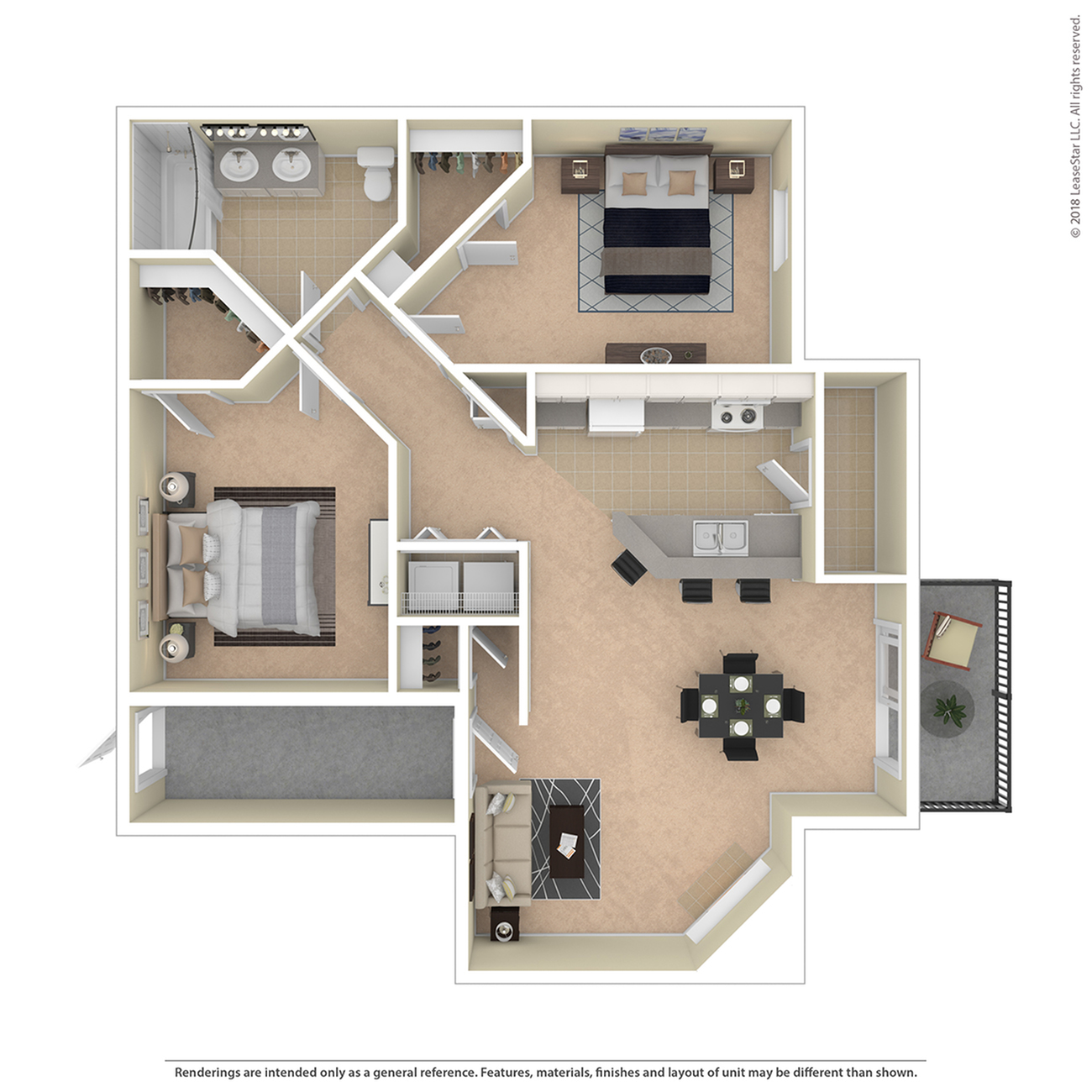 2 Bedroom Floor Plan | Apartments For Rent In Colorado Springs | Willows at Printers Park