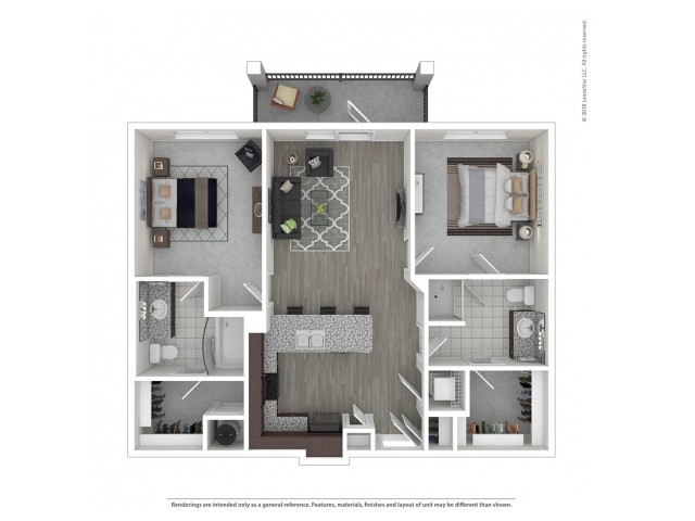 2 Bedroom Floor Plan | Nashville Apartments For Rent | Duet