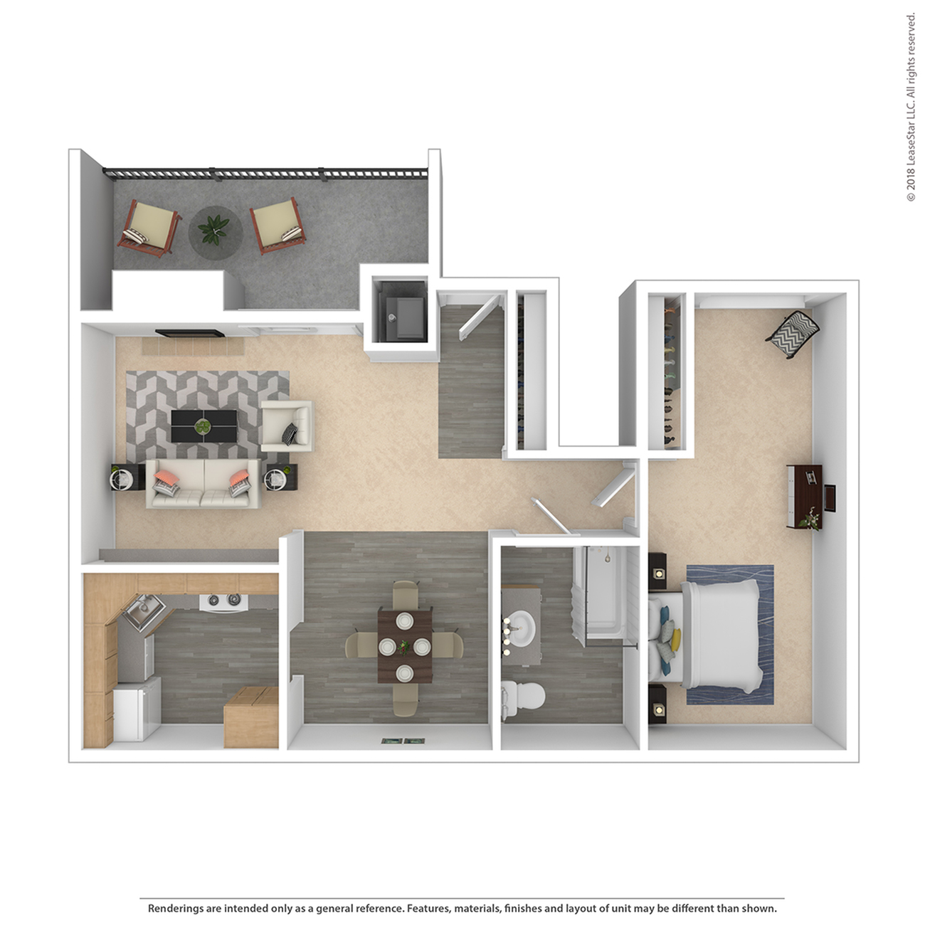 1 Bedroom Floor Plan | Federal Heights Colorado Apartments | The Lodge on 84th