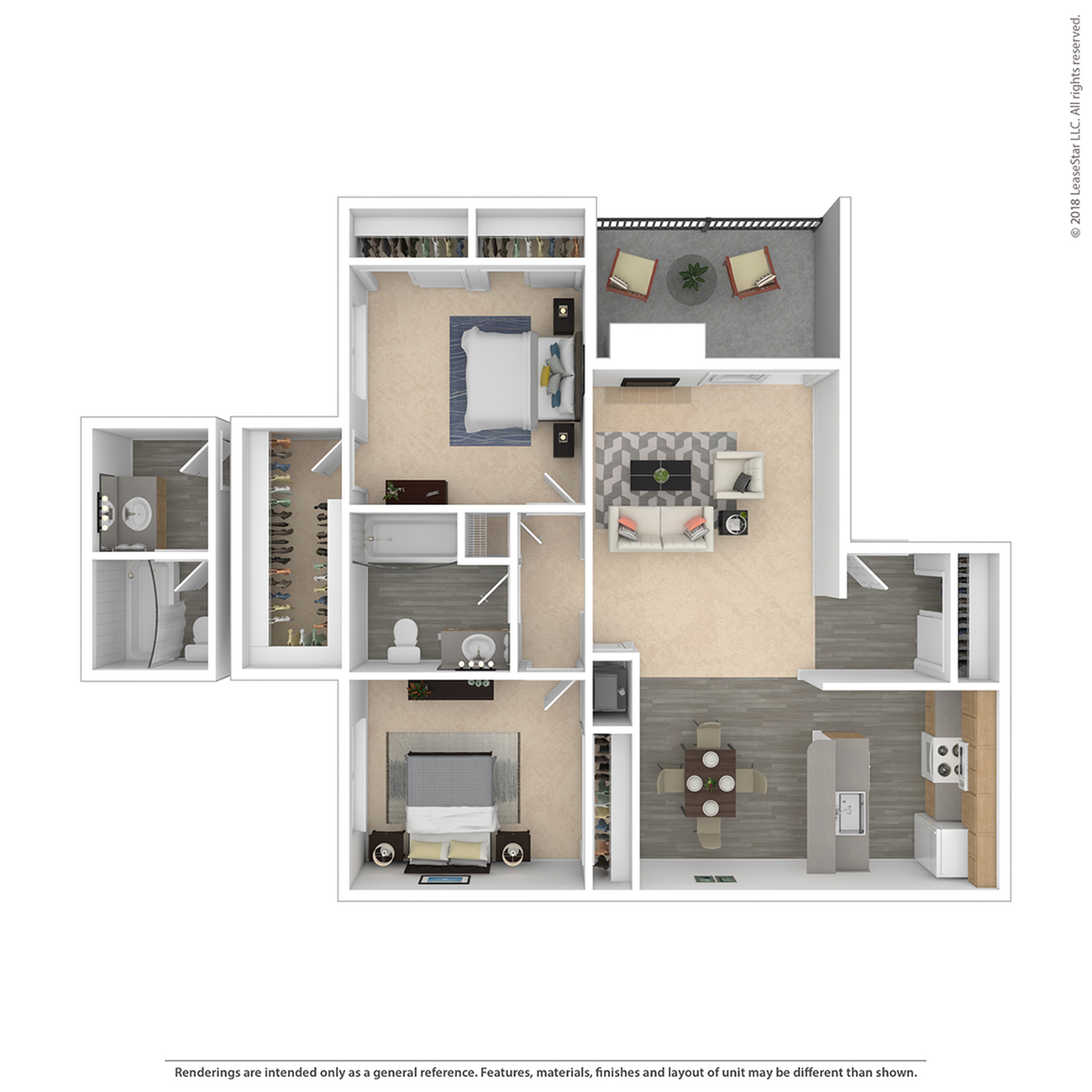 2 Bedroom Floor Plan | Federal Heights Co Apartments | The Lodge on 84th
