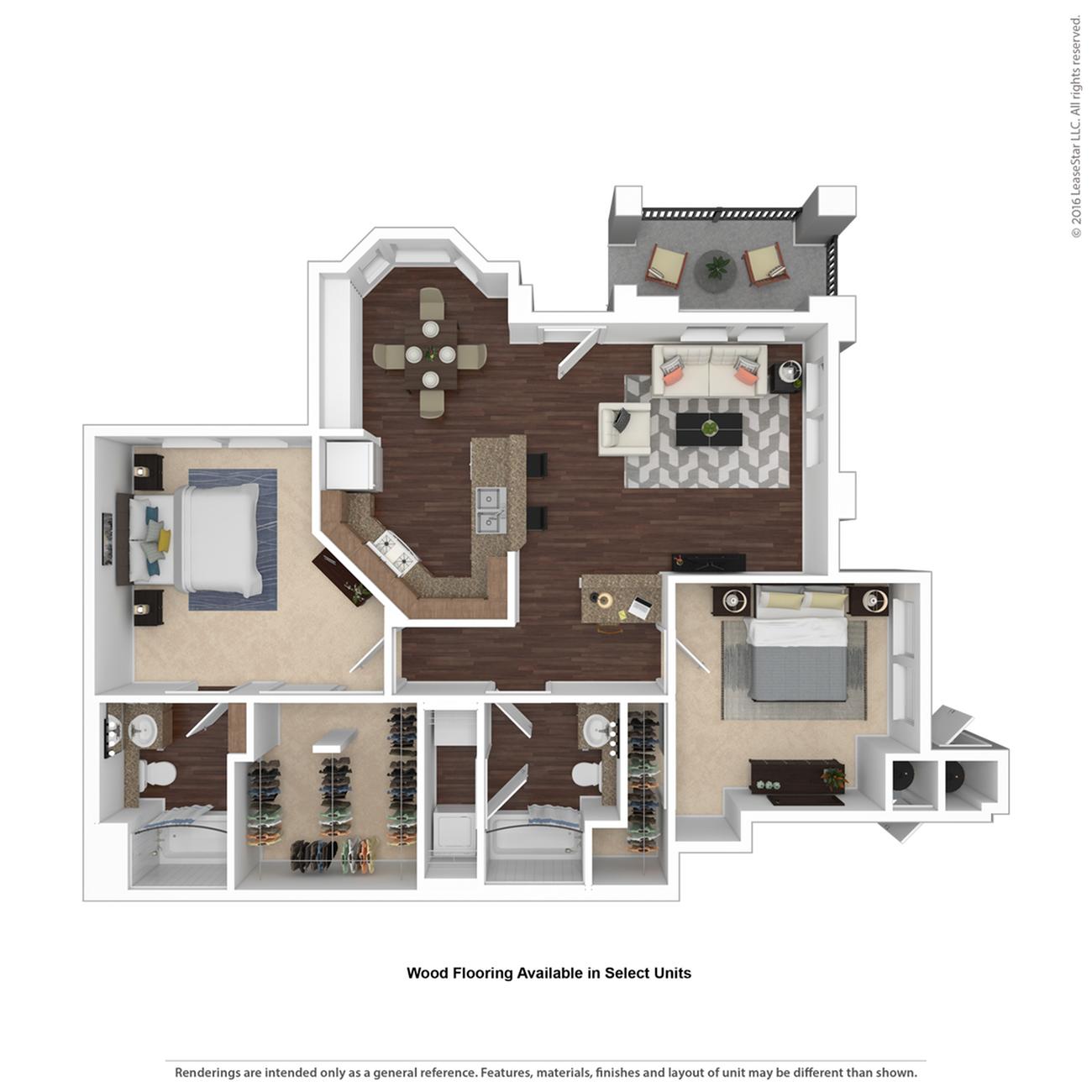 2 Bedroom Floor Plan   Apartments For Rent Henderson Nv   Verona
