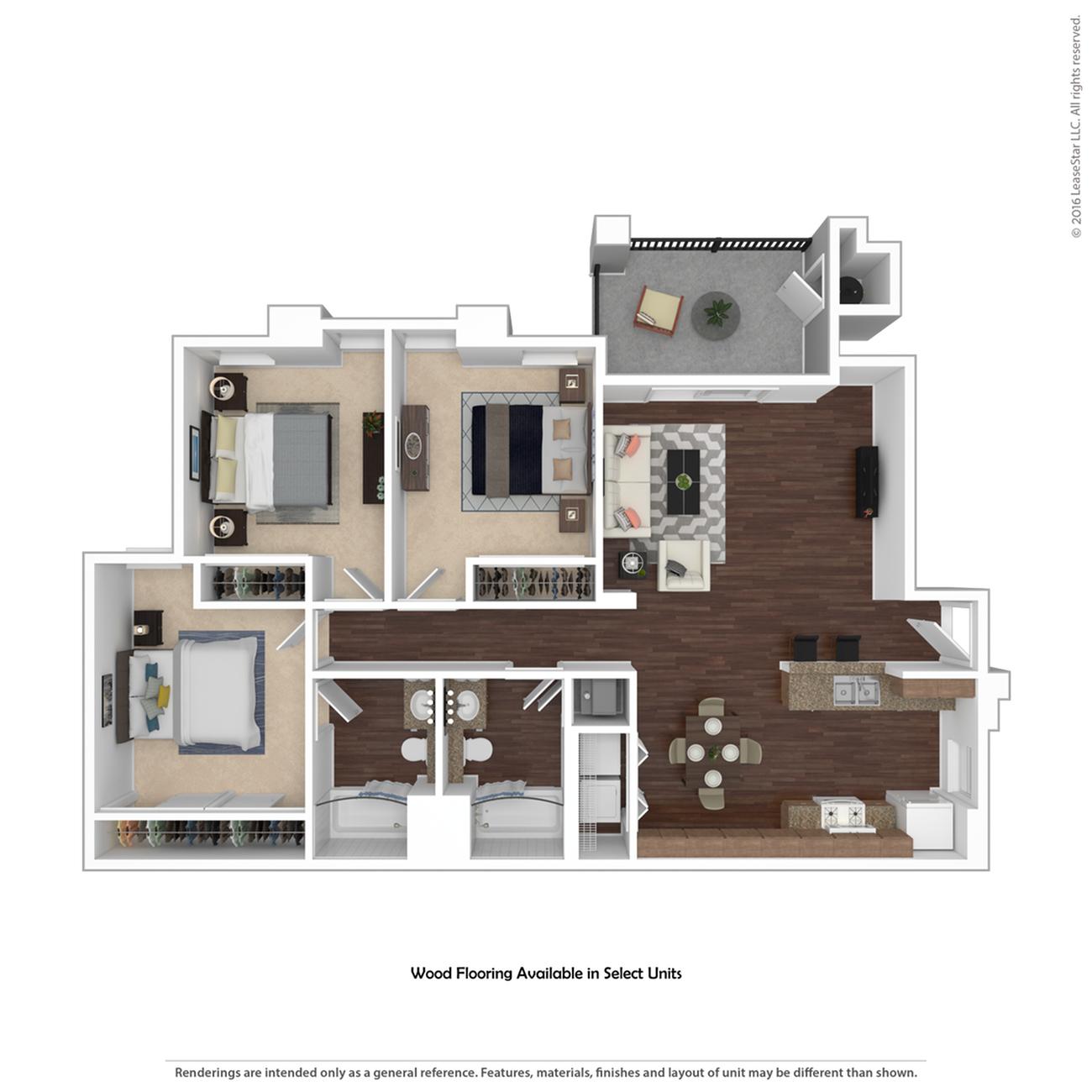 3 Bedroom Floor Plan   Apartments In Henderson Nevada   Verona