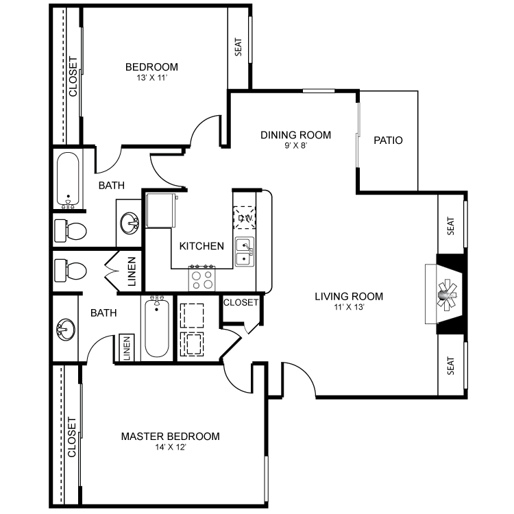 2 Bdrm Floor Plan | Luxury Apartments Henderson Nv | Martinique Bay