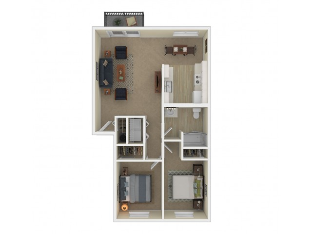 2 Bedroom Floor Plan | Apartments For Rent In Spokane, WA | Eagle Pointe Apartments