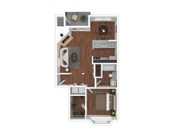 1 Bedroom Floor Plan | Apartments For Rent In Bellevue, WA | Overlook at Lakemont Apartments