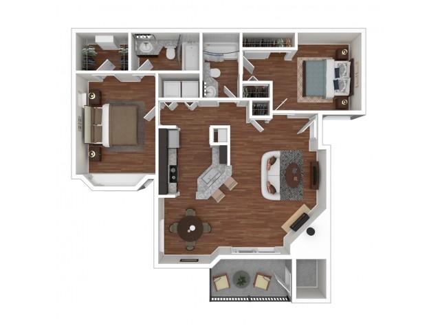 2 Bedroom Floor Plan | Apartments For Rent In Bellevue, WA | Overlook at Lakemont Apartments
