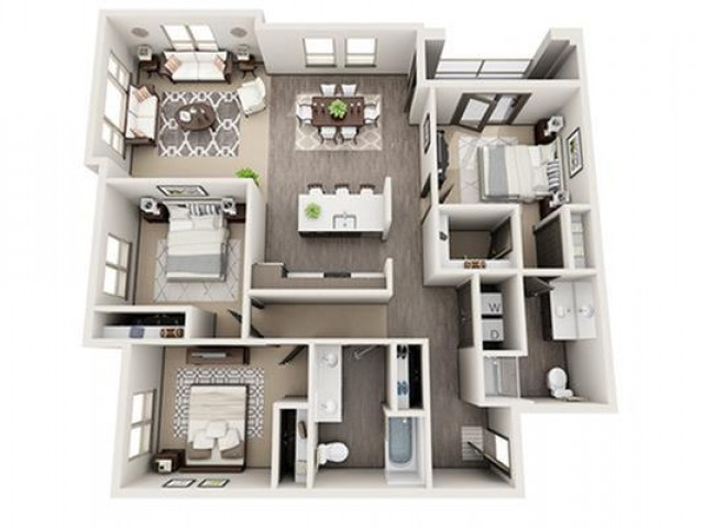3 Bedroom Floor Plan | Apartments For Rent Hillsboro Oregon | Tessera at Orenco Station