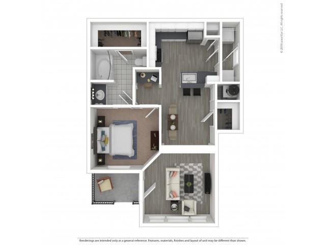 Floor Plan 2 | 3 Bedroom Apartments For Rent In Nashville, TN | Hamptons at Woodland Pointe