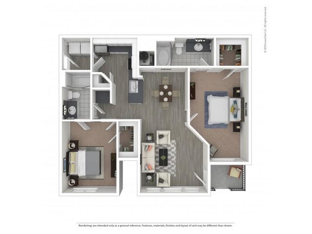 Floor Plan 4 | Apartments Near Nashville, TN Airport | Hamptons at Woodland Pointe