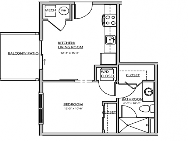 1 Bedroom Floor Plan | Apartments For Rent In Bend, OR | Seasons Apartments at Farmington Reserve
