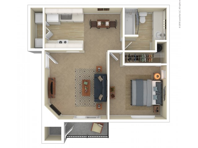 1 Bedroom Floor Plan | Apartments For Rent In Shoreline, WA | Ballinger Commons Apartments