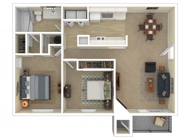 2 Bedroom Floor Plan | Apartments For Rent In Shoreline, WA | Ballinger Commons Apartments