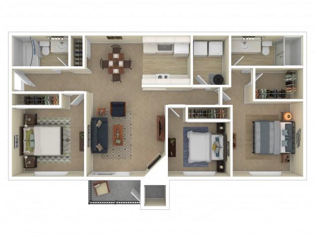 3 Bedroom Floor Plan | Apartments For Rent In Shoreline, WA | Ballinger Commons Apartments