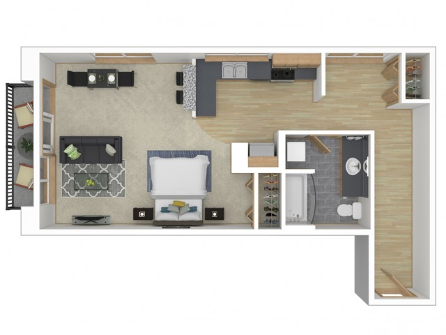 Floor Plan 1 | Apartments In Seattle Washington | 700 Broadway Apartments