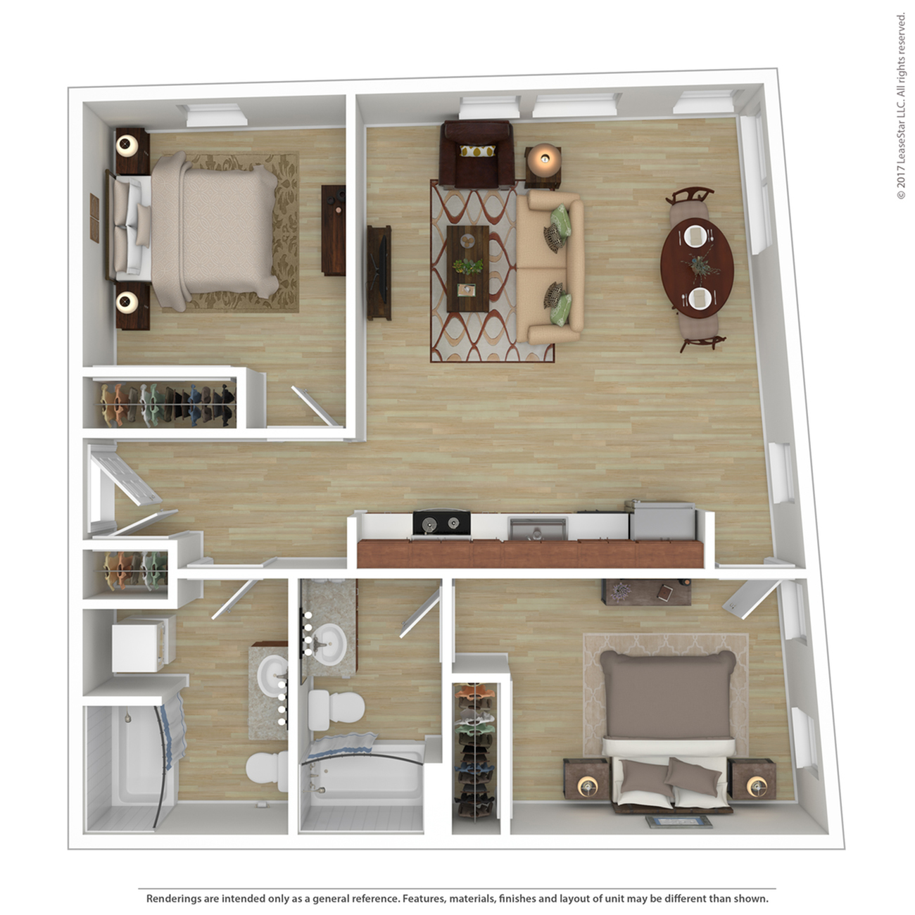 2 Bedroom Floor Plan | Apartments For Rent In Portland, OR | Tanner Flats Apartments