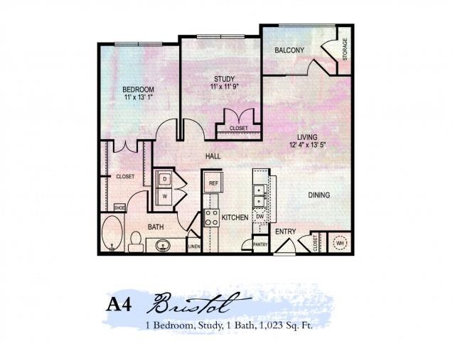 Bristol 1 Bedroom Floor Plan | Luxury Apartments Franklin Tn | Artessa