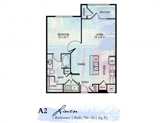 Linen 1 Bdrm Floor Plan | 2 Bedroom Apartments In Franklin Tn | Artessa