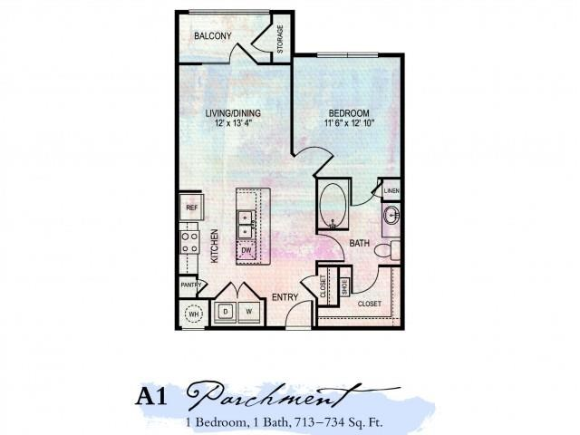 Parchment 1 Bedroom Floor Plan | Luxury Apartments Franklin Tn | Artessa