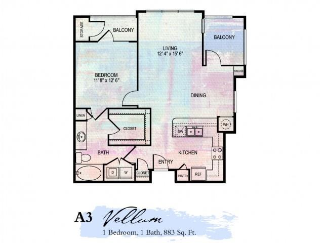 Vellum 1 Bdrm Floor Plan | 2 Bedroom Apartments In Franklin Tn | Artessa
