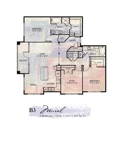 Mural 2 Bedroom Floor Plan | Apartments For Rent In Franklin Tn | Artessa