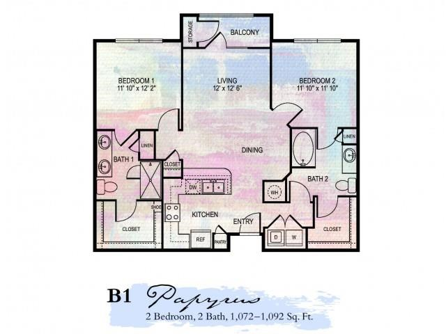 Papyrus 2 Bdrm Floor Plan | Pet Friendly Apartments In Franklin Tn | Artessa