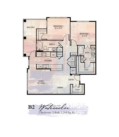 Watercolor 2 Bedroom Floor Plan | Apartments For Rent In Franklin Tn | Artessa