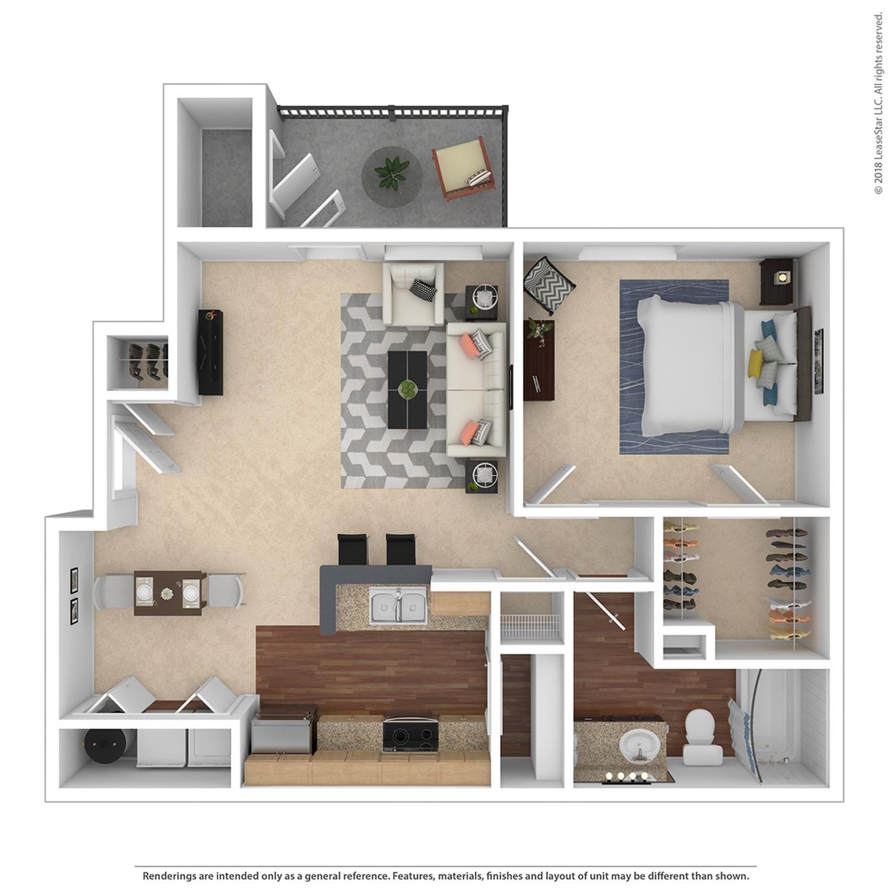 1 Bedroom Floor Plan | Apartments For Rent Tigard Oregon | Arbor Heights