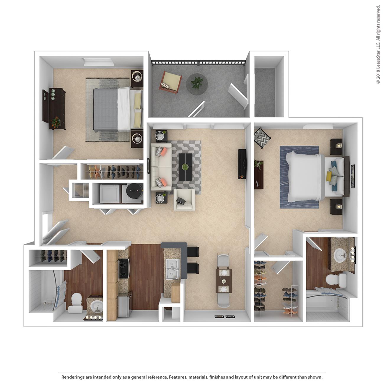 2 Bedroom Floor Plan | Apartments Near Tigard Oregon | Arbor Heights