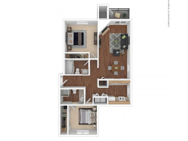 2 Bedroom Floor Plan | Apartments For Rent In Renton, WA | 2000 Lake Washington Apartments