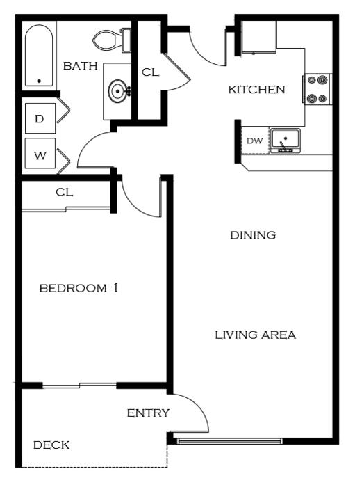 1 Bdrm Floor Plan | 2 Bedroom Apartments In Portland Oregon | 5819 Glisan