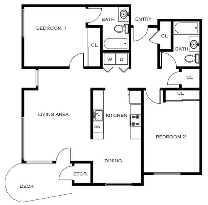 2 Bedroom Floor Plan | Portland Oregon Apartments For Rent | 5819 Glisan