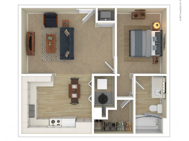 1 Bedroom Floor Plan | Apartments For Rent In Las Vegas, NV | Orchard Club Apartments
