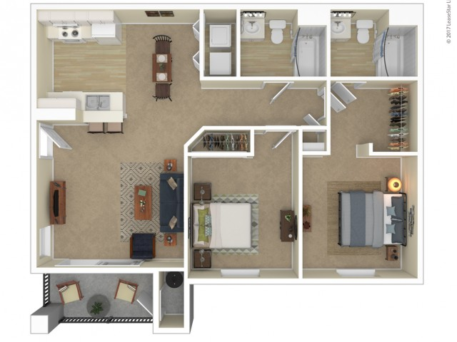 2 Bedroom Floor Plan | Apartments For Rent In Las Vegas, NV | Orchard Club Apartments