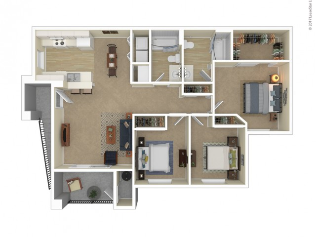 3 Bedroom Floor Plan   Apartments For Rent In Las Vegas, NV   Orchard Club Apartments