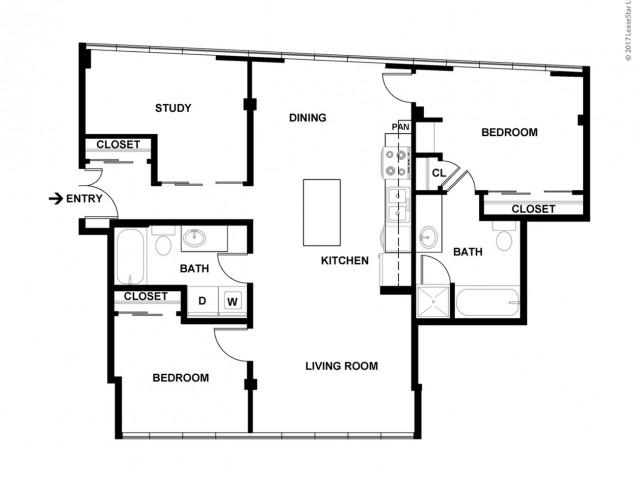 2 Bedroom Floor Plan | Apartments For Rent In Bellevue, WA | Sylva on Main Apartments