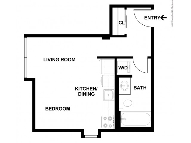 Studio Floor Plan | Apartments For Rent In Bellevue, WA | Sylva on Main Apartments