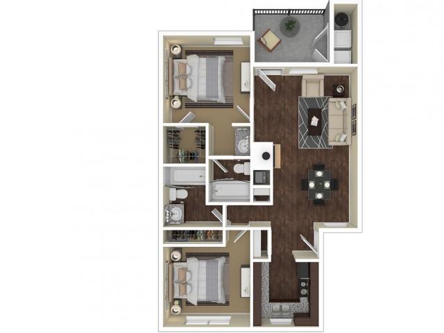 2 Bedroom Floor Plan   Apartments For Rent In Chandler, AZ   Arches at Hidden Creek Apartments