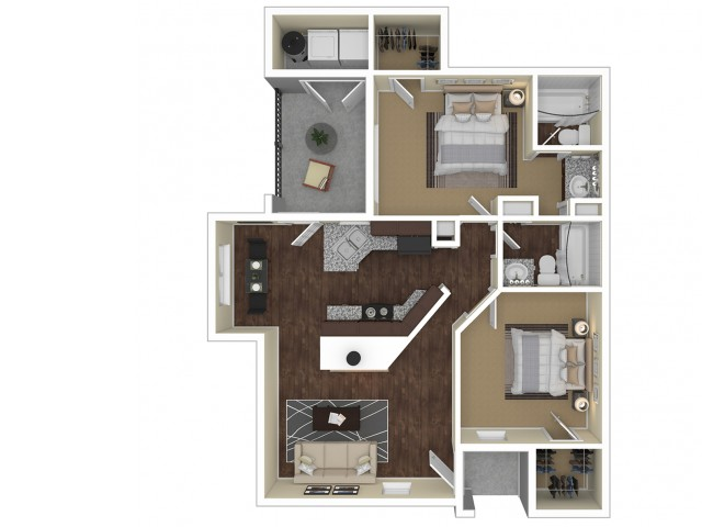 2 Bedroom Floor Plan | Apartments For Rent In Chandler, AZ | Arches at Hidden Creek Apartments