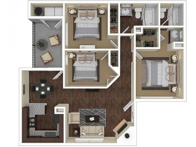 3 Bedroom Floor Plan   Apartments For Rent In Chandler, AZ   Arches at Hidden Creek Apartments