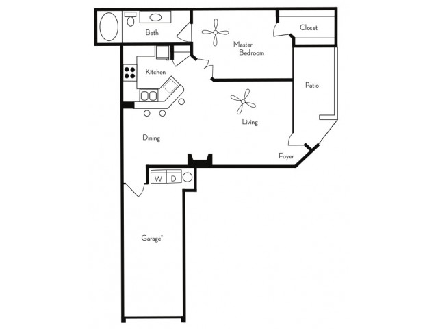 1 Bedroom Floor Plan | Apartments For Rent In Phoenix, AZ | Pavilions on Central Apartments