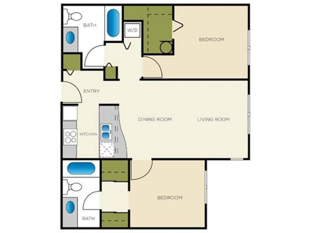 2 Bedroom Floor Plan | Apartments For Rent In Seattle, WA | Vantage Park Apartments