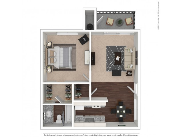 1 Bedroom Floor Plan | Apartments For Rent In Suisun City, CA | The Henley Apartment Homes