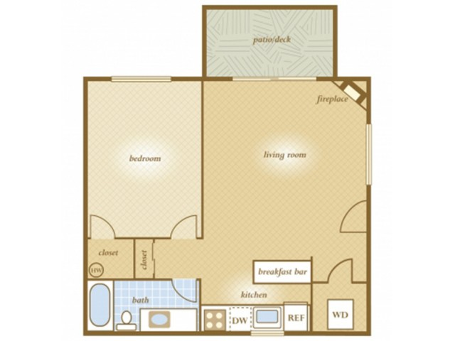 1 Bedroom Floor Plan | Apartments For Rent In Tacoma, WA | Terra Heights Apartments
