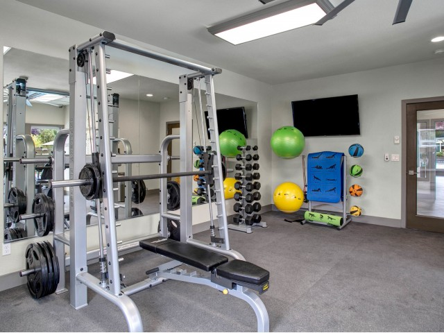 Image of Fitness Center with Free Weights for Woodstone Apartments