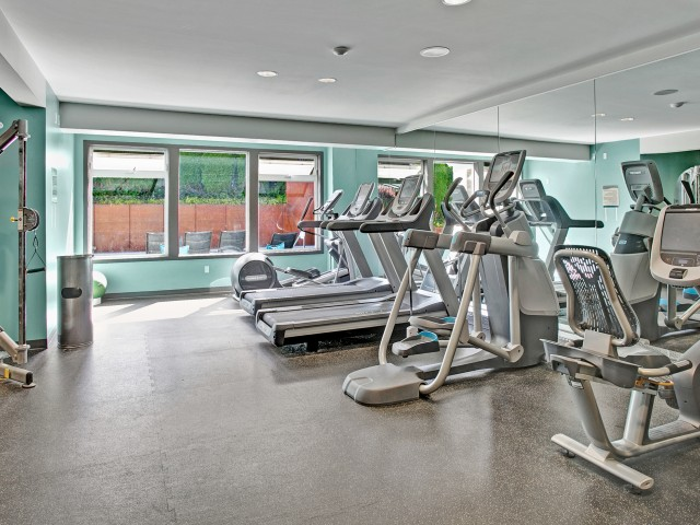 Image of Fitness Center with Free Weights for The Heights at Bear Creek Apartments