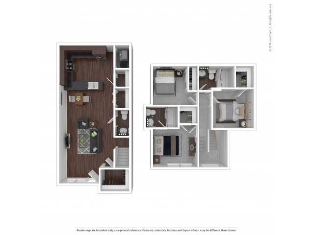 3 Bedroom Floor Plan | Apartments For Rent In Lake Oswego, OR | One Jefferson Apartments