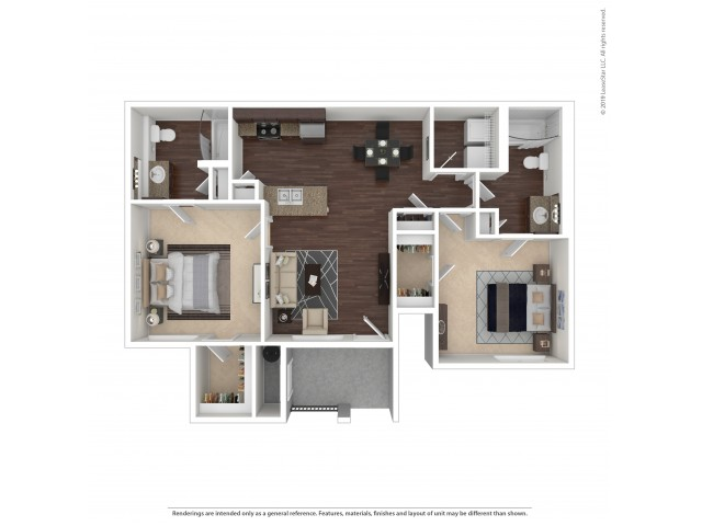 2 Bedroom Floor Plan | Apartments For Rent In Henderson, NV | The Edge at Traverse Pointe Apartments