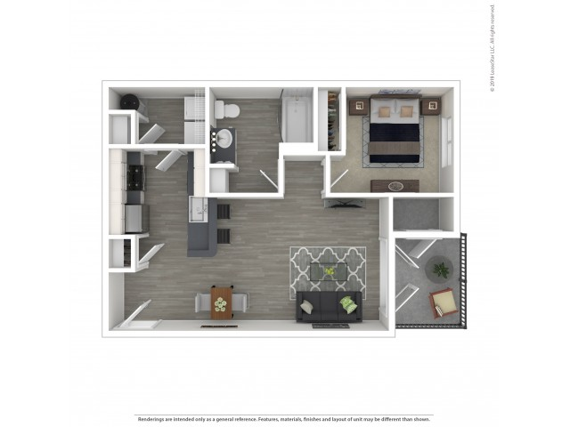 1 Bedroom Floor Plan | Apartments For Rent In Lacey Wa | The Marq on Martin