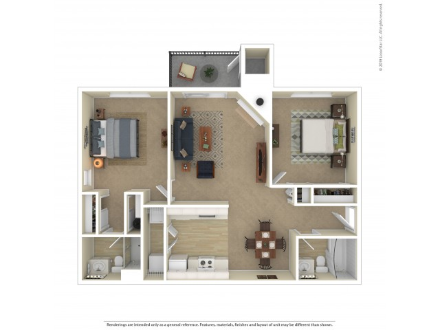 Cedar Two Bedroom Two Bathroom Apartment